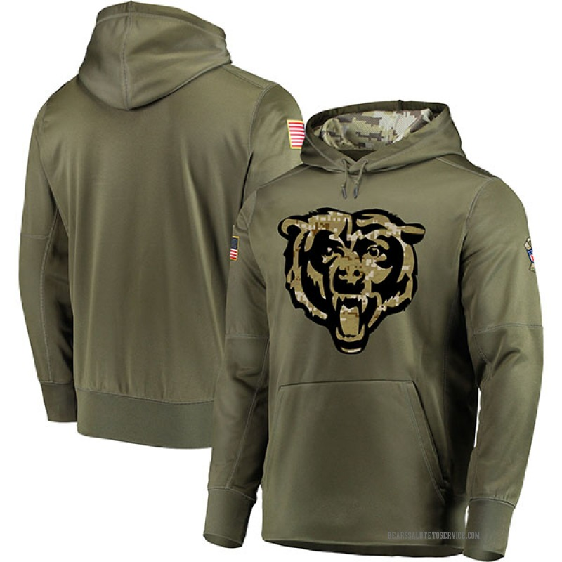 Men's Blank Chicago Bears Olive Salute to Service Pullover Hoodie